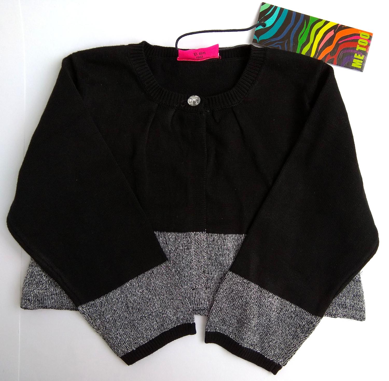 Kardigan Krótki sweter Czarno Srebrny Rozmiar 86