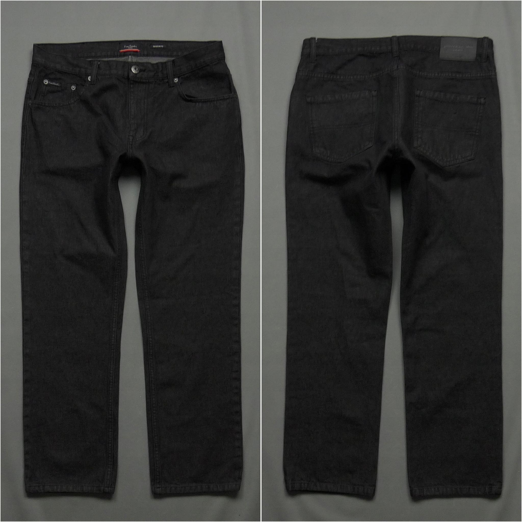 PIERRE CARDIN czarne spodnie jeansy logo W34 L30