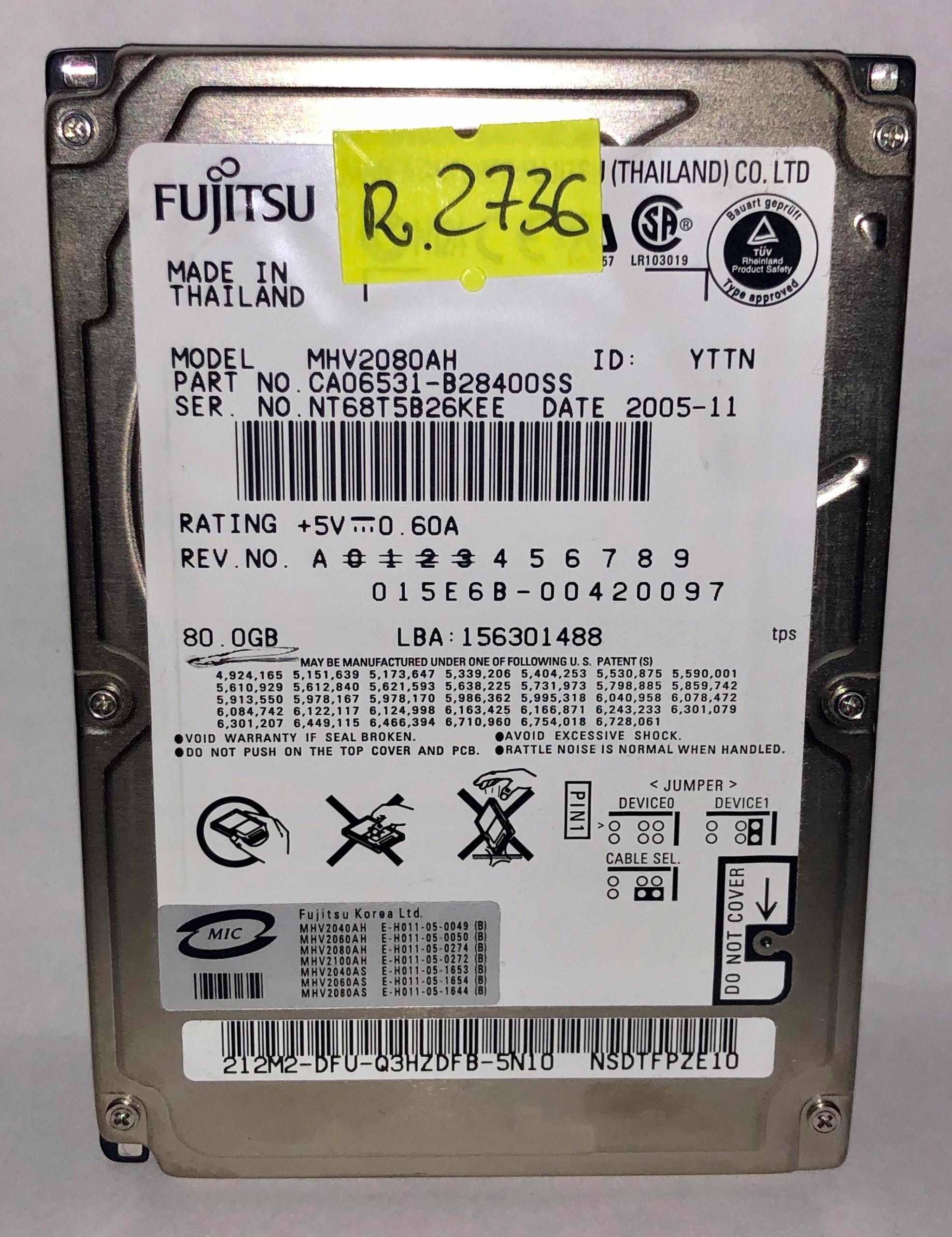 DYSK 2,5'' FUJITSU 80 GB ATA NR R.2736