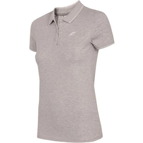 Koszulka polo damska H4L19 TSD013 4F (chłodny jasny szary