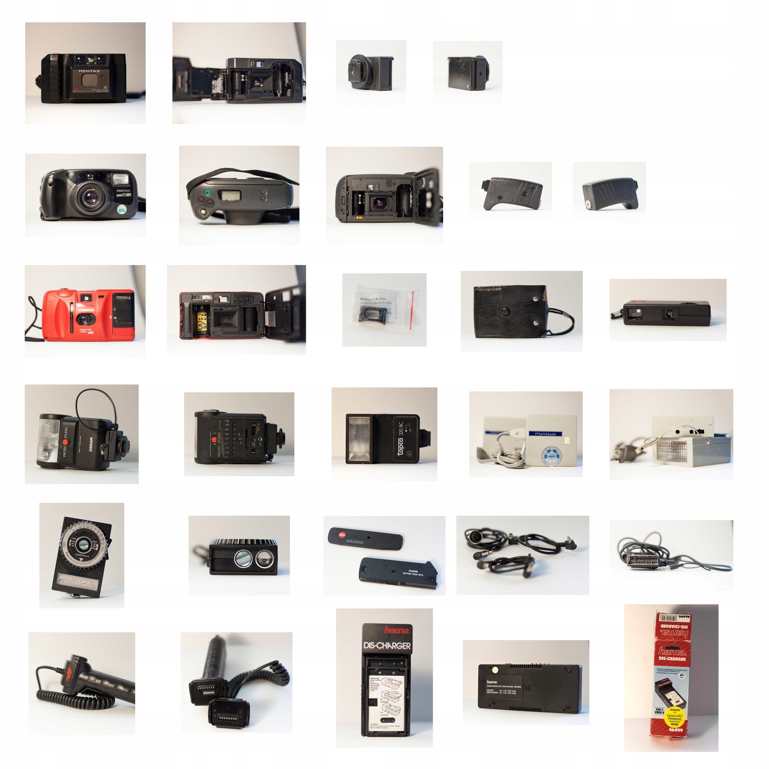 4 aparaty (Pentax, Chinon) + duży zestaw akc.