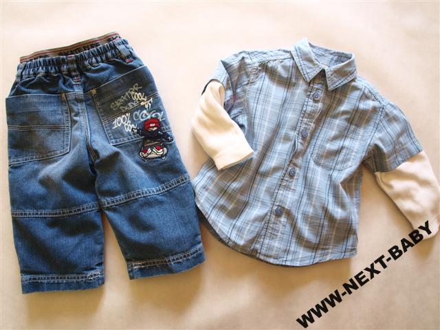 NEXT spodnie __ CHEROKEE koszula 74 / 80 / 86