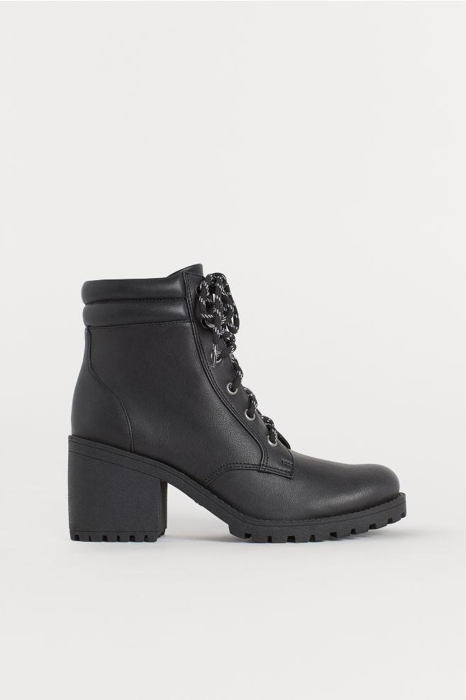 H&M- sznurowane botki,modne workery na obcasie
