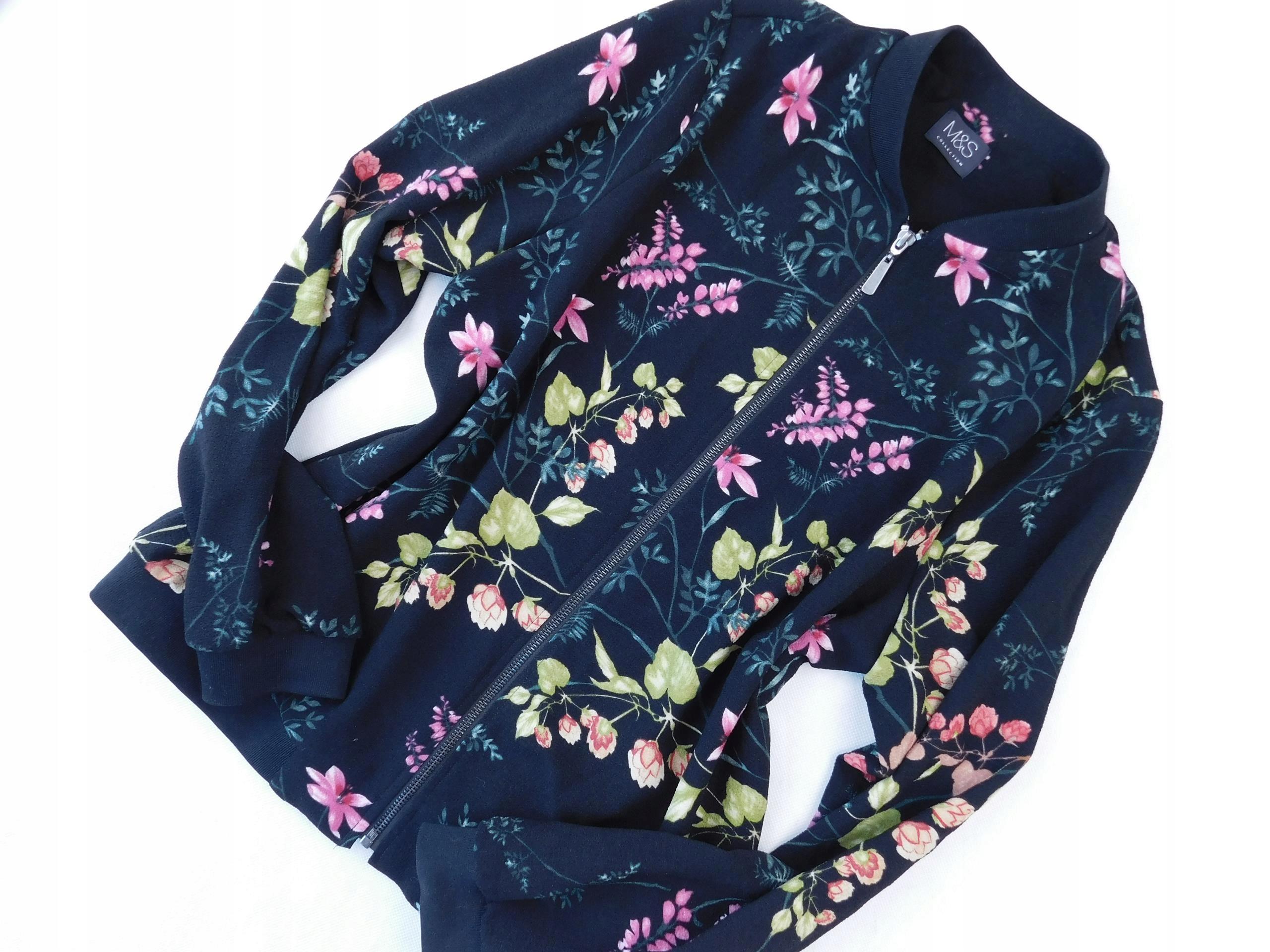 M&S czarna BLUZA bomberka KOLOROWE kwiaty 40