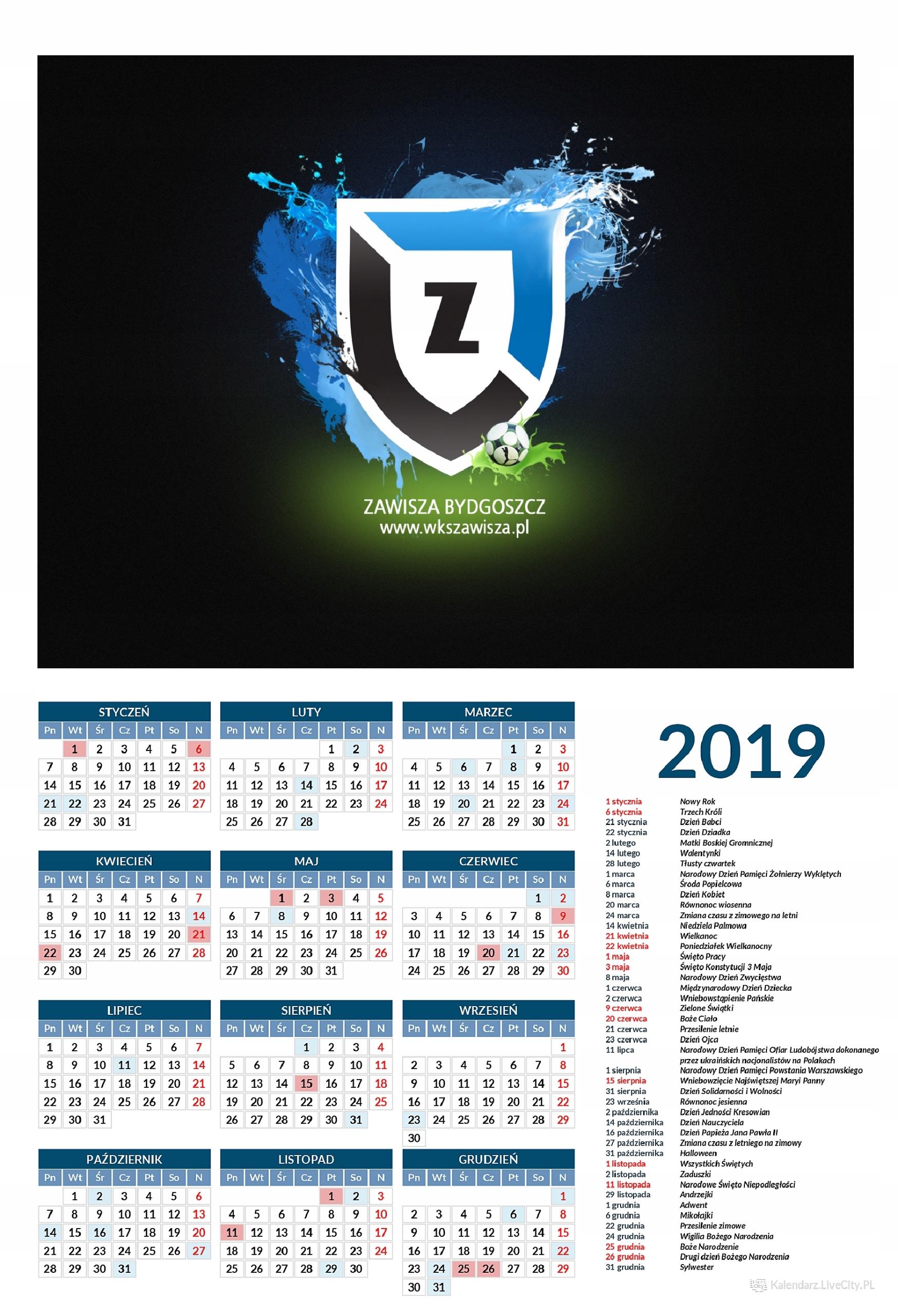Kalendarz 2019 ZAWISZA BYTOM PIŁKA NOŻNA