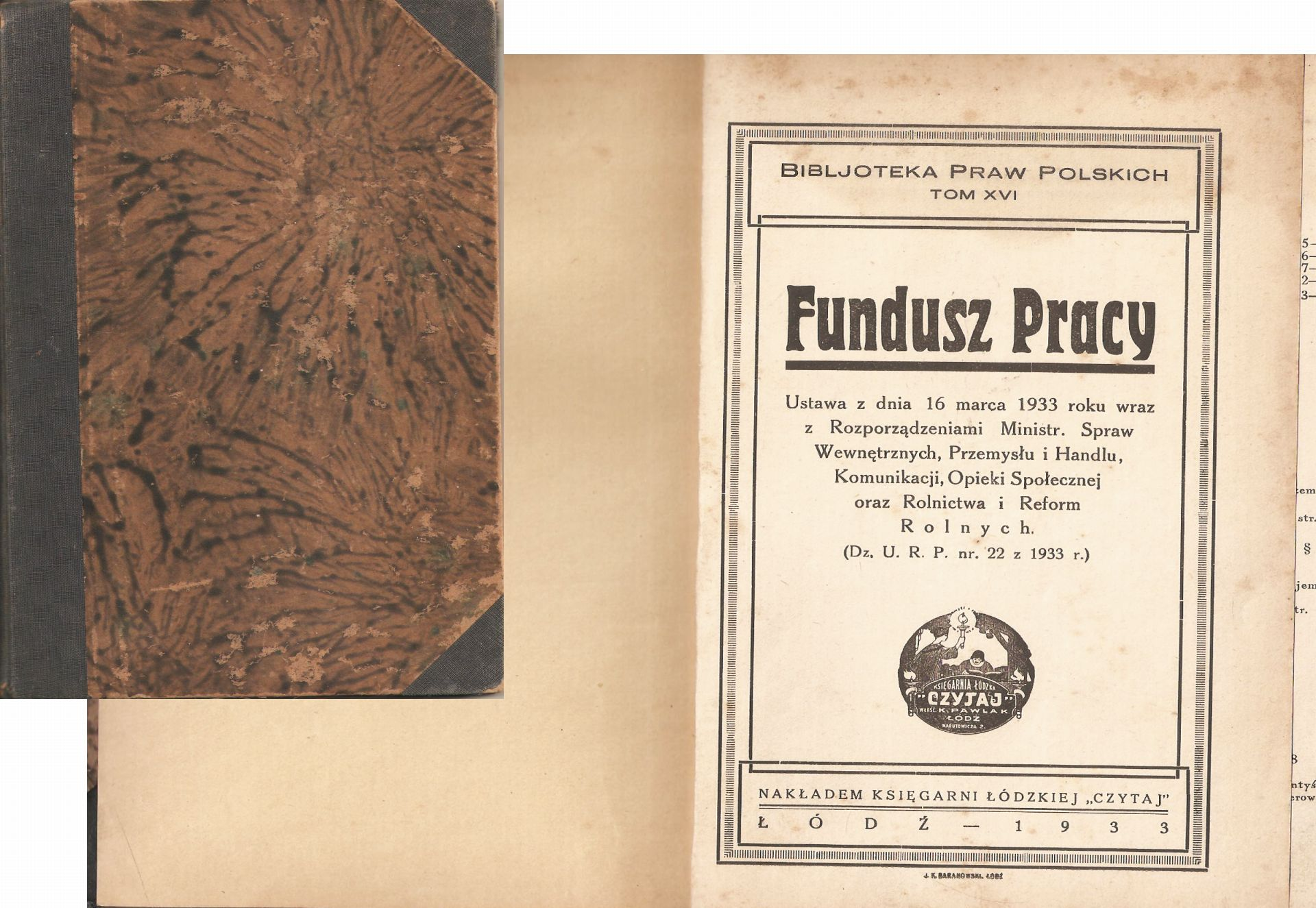 Fundusz pracy 1933 Biblioteka Praw Polskich