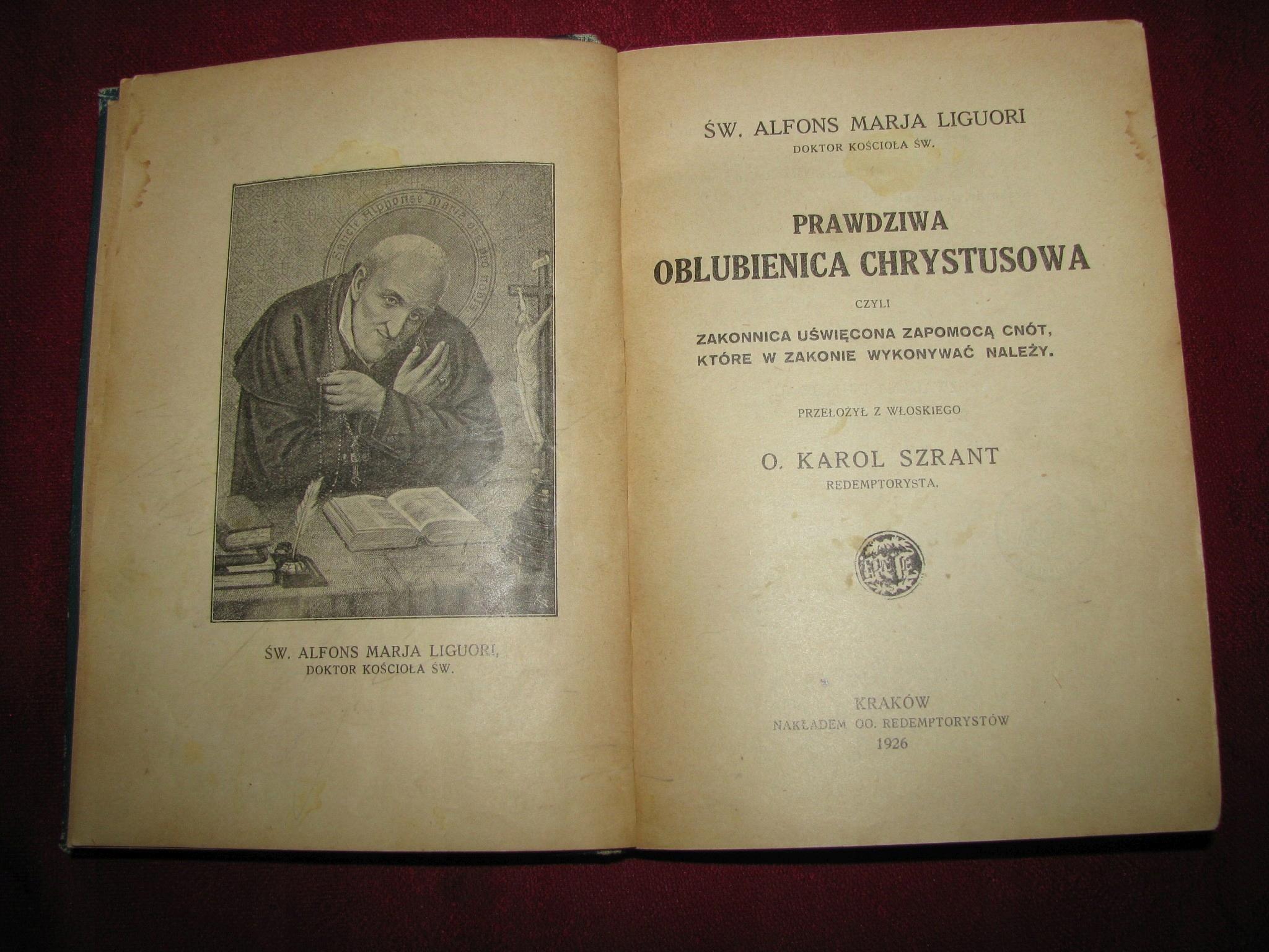 Oblubienica Chrystusowa Liguori oprawa L.Bażela