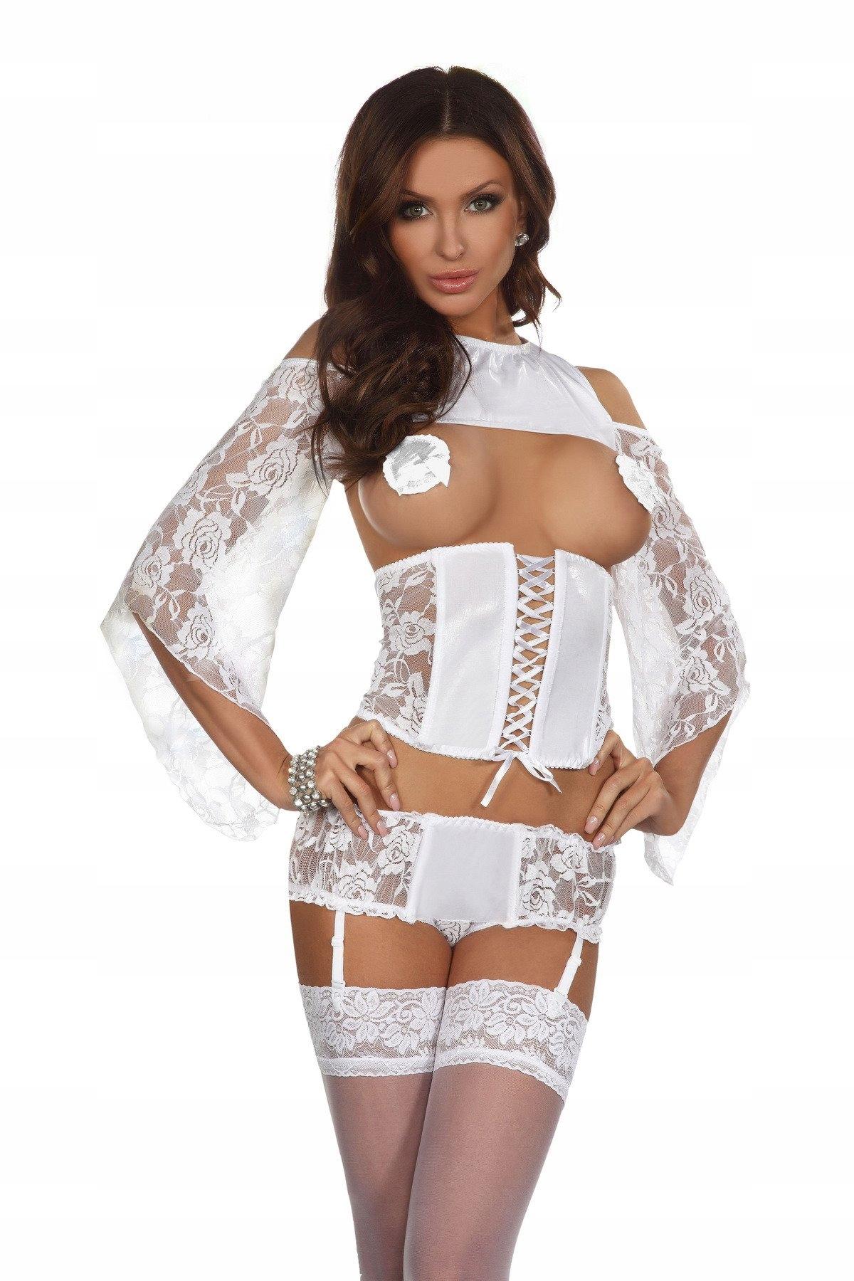 Biały gorset bluzeczka szorty z paskami 3 części L