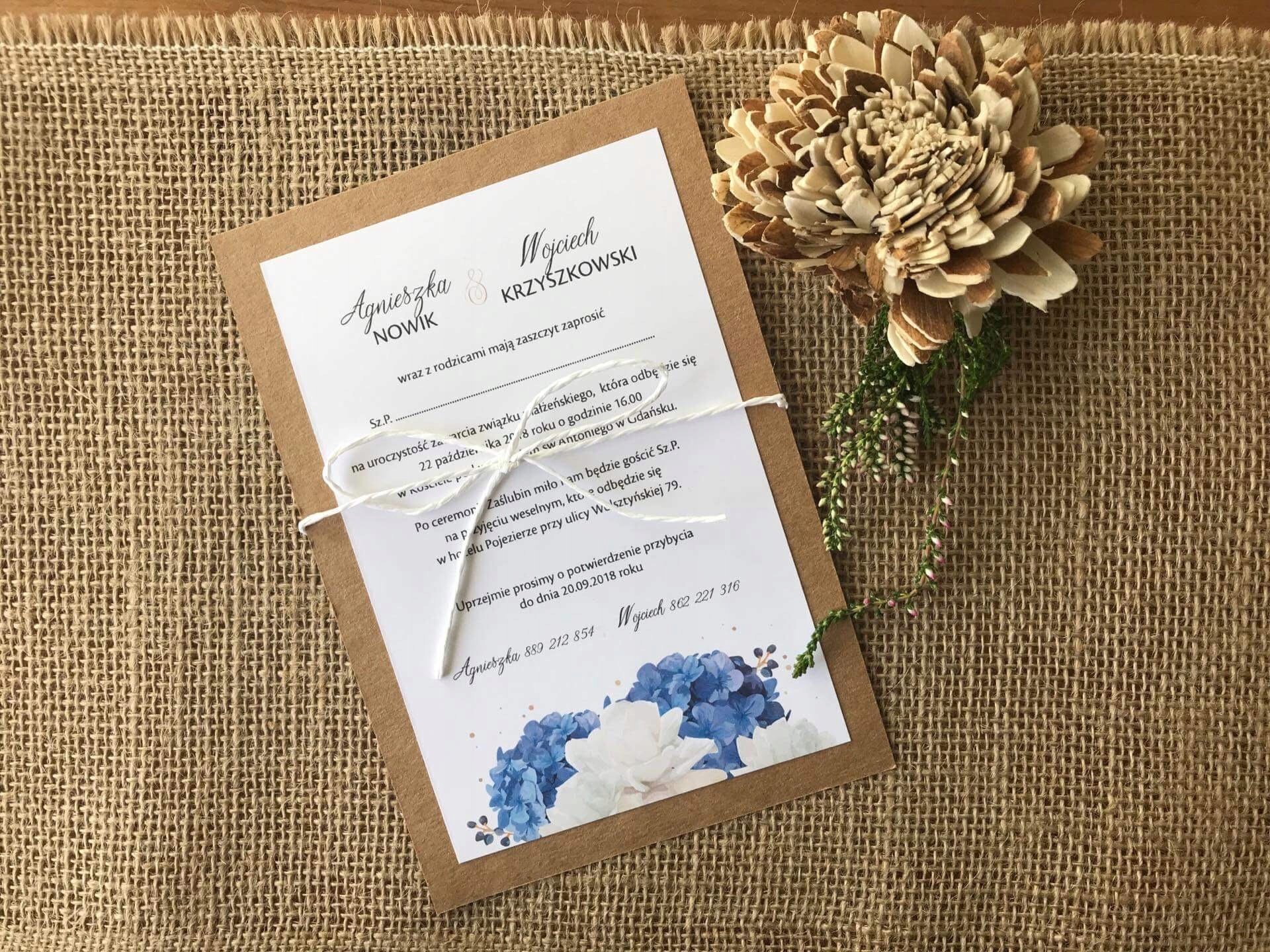Rustykalne Zaproszenia ślubne Hortensje 7574110636 Oficjalne