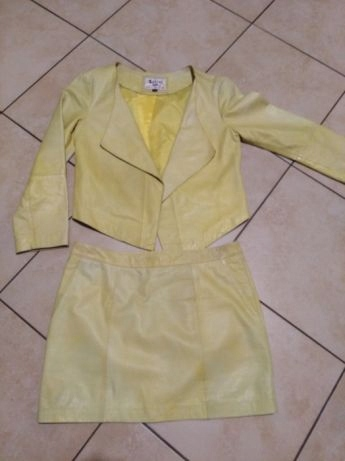 Beshka lether S żółty komplet spódniczka i ramones