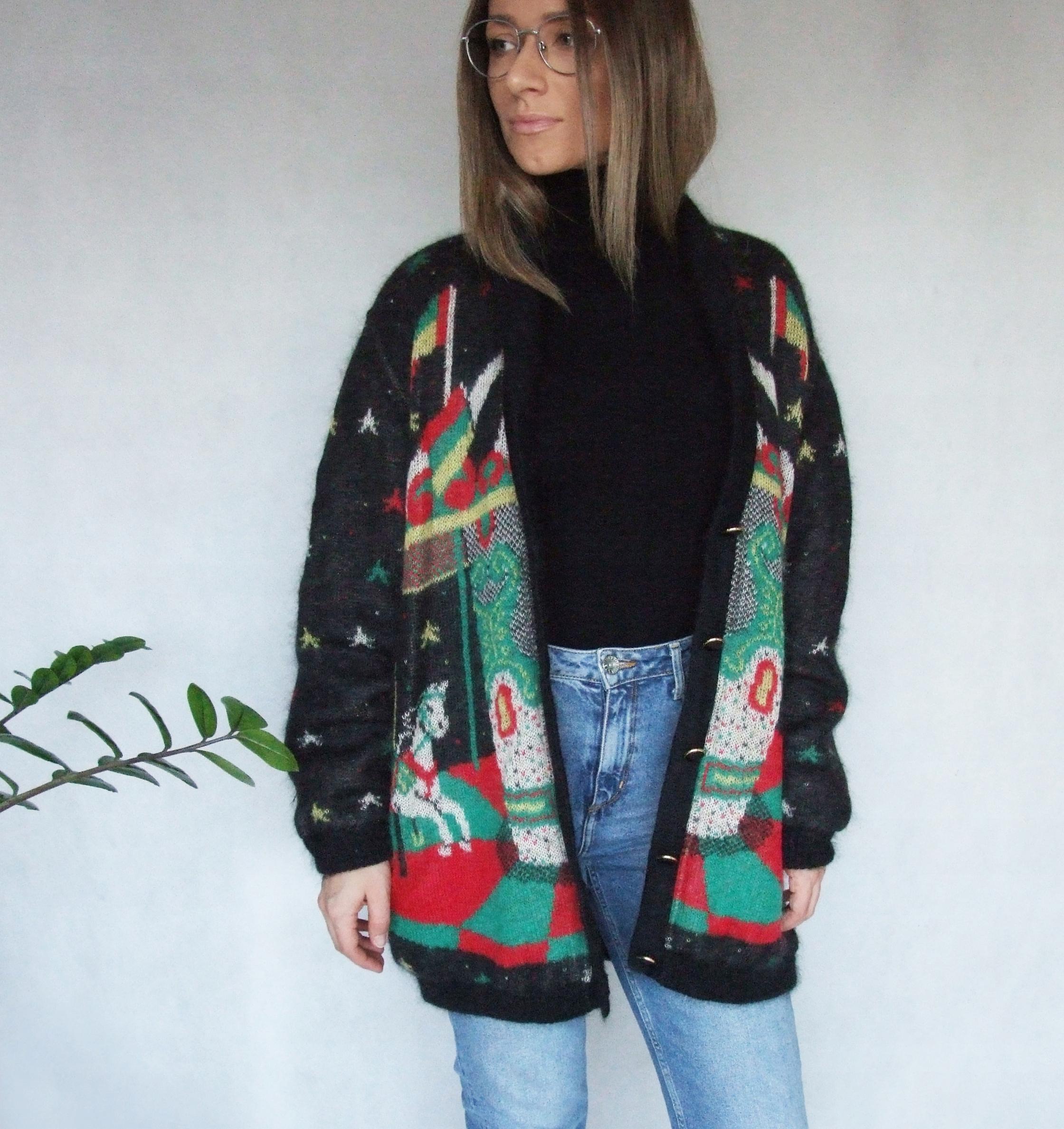 MARZ długi sweter na podszewce karuzela VINTAGE