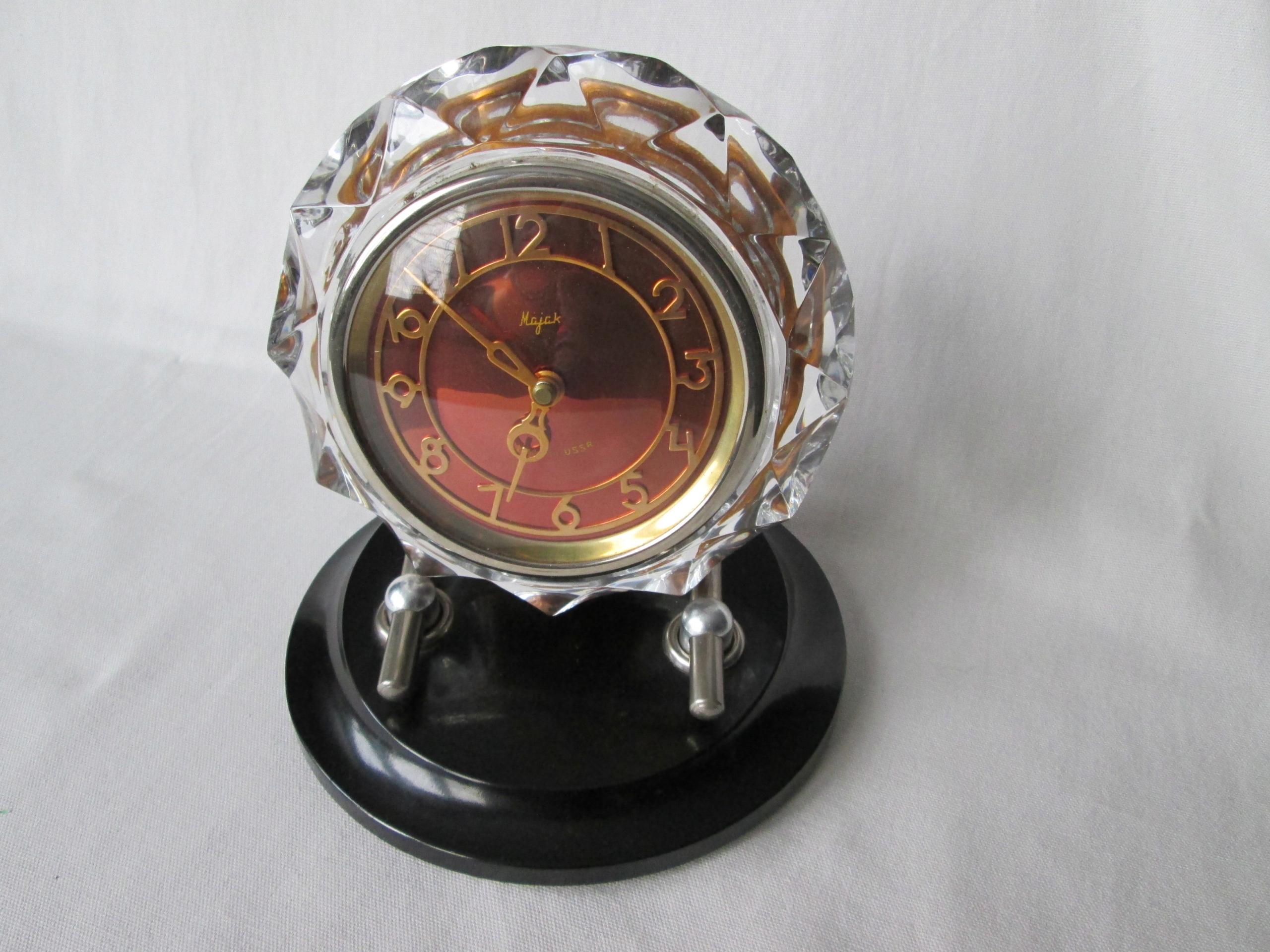 majak zegar kryształ czerwony vintage prl ussr