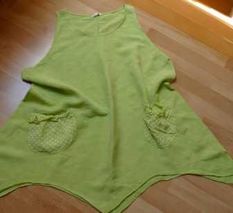 Sukienka tunika len 100% zielona 48 50 XXL