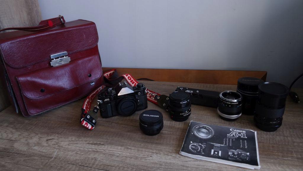 CANON A-1 + Canon 50mm 1:1.8 Body Conventer PAKIET