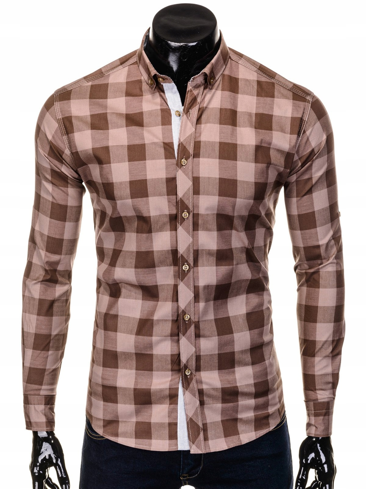 Koszula męska w kratę casualowa brązowa 503K XXL