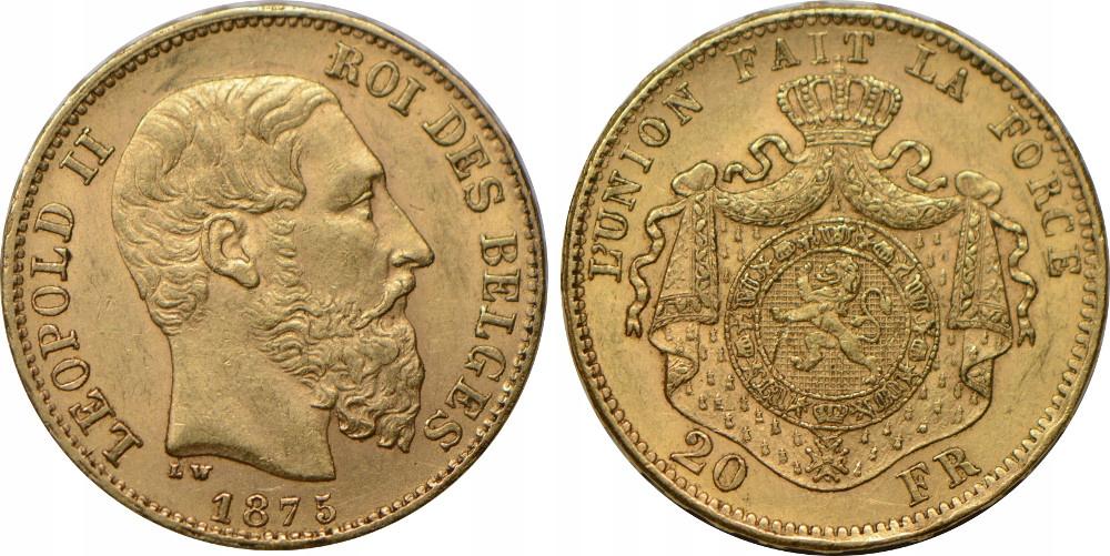 R41.BELGIA 20 F 1875 LEOPOLD II STAN:II GCN