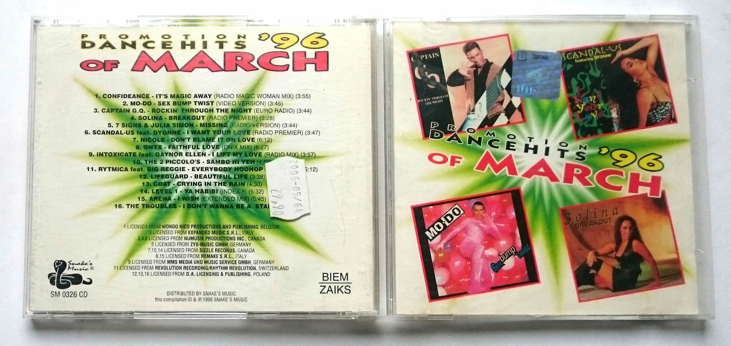 Various  Promotion Dance Hits Of March '96