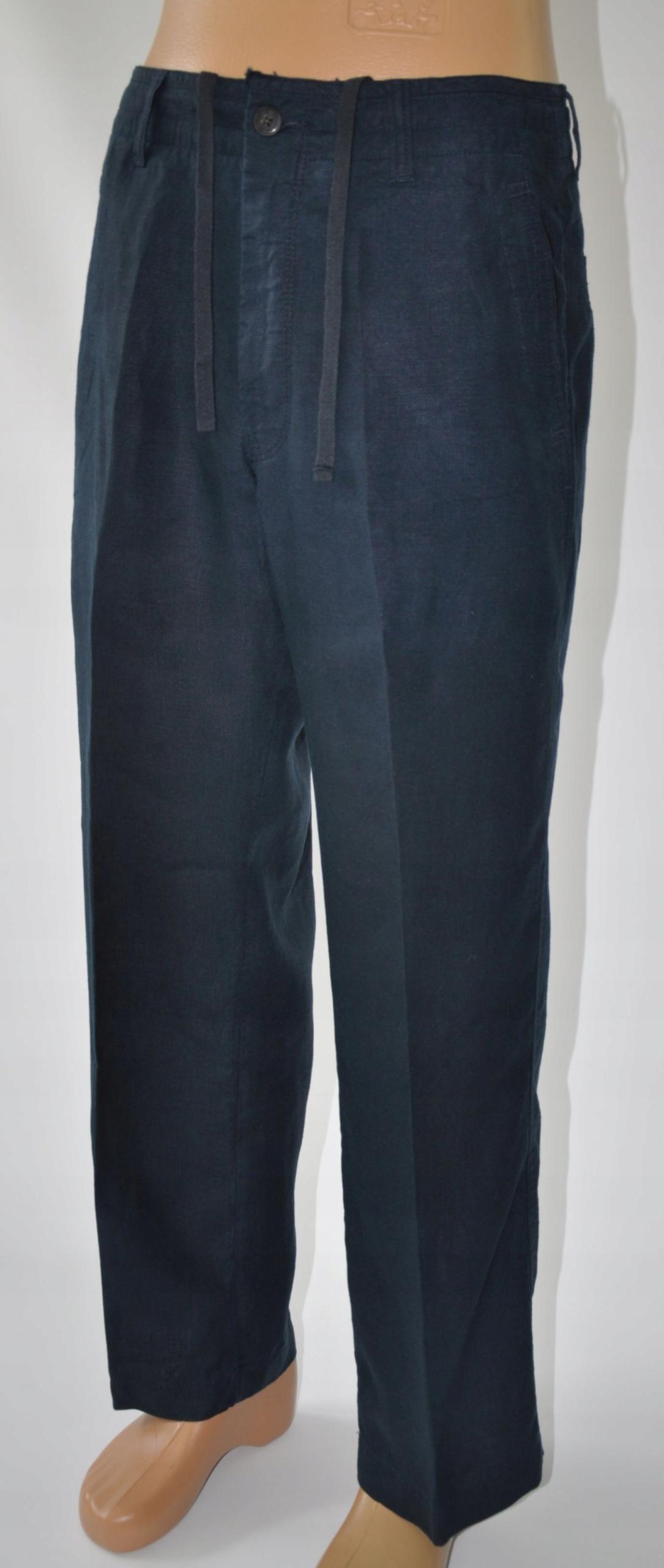 M&S spodnie lniane granatowe 32/29 pas 80 cm