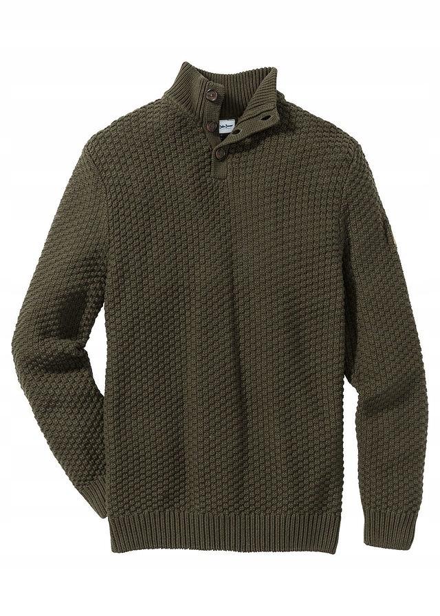 Sweter Slim Fit zielony 48/50 (M) 971263 bonprix