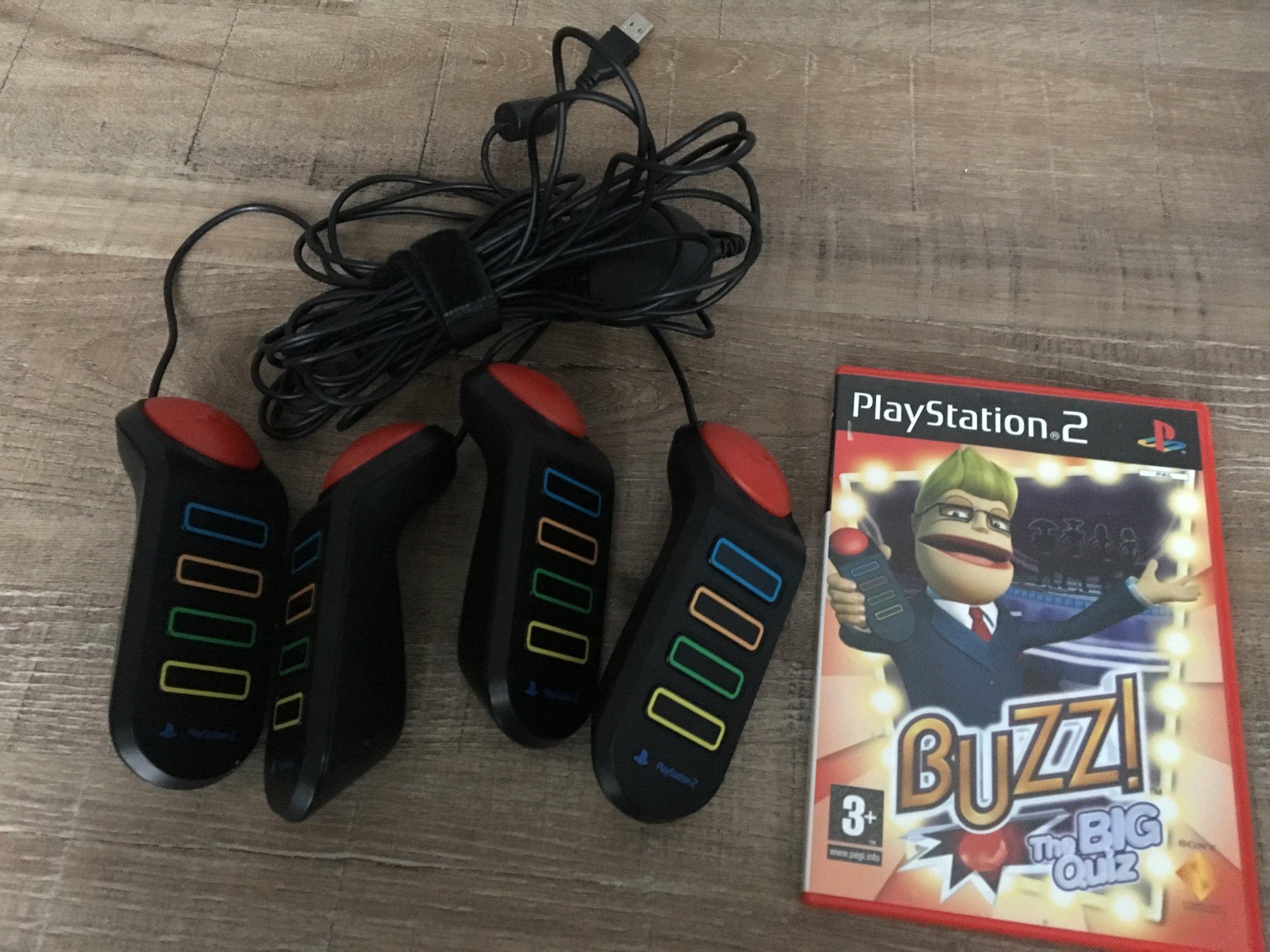 Buzzery PS2 + Big Quiz - oryginalne w pełni sprawn