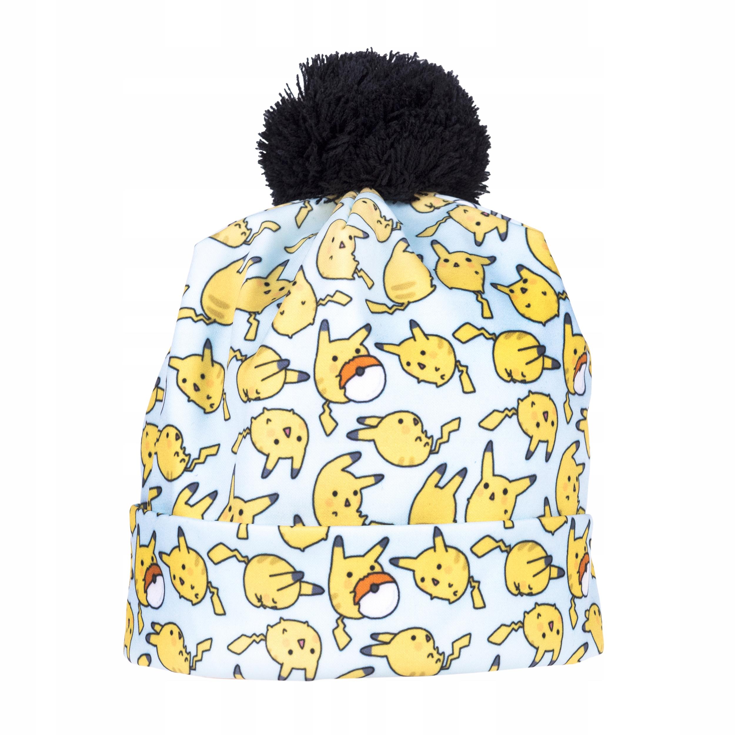 czapka zimowa beanie pompon krasnal pokemon