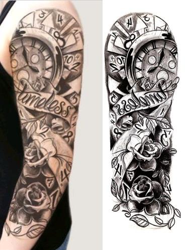 Naklejany Tatuaż Kalkomania Tattoo Zegar Róża 7477643987