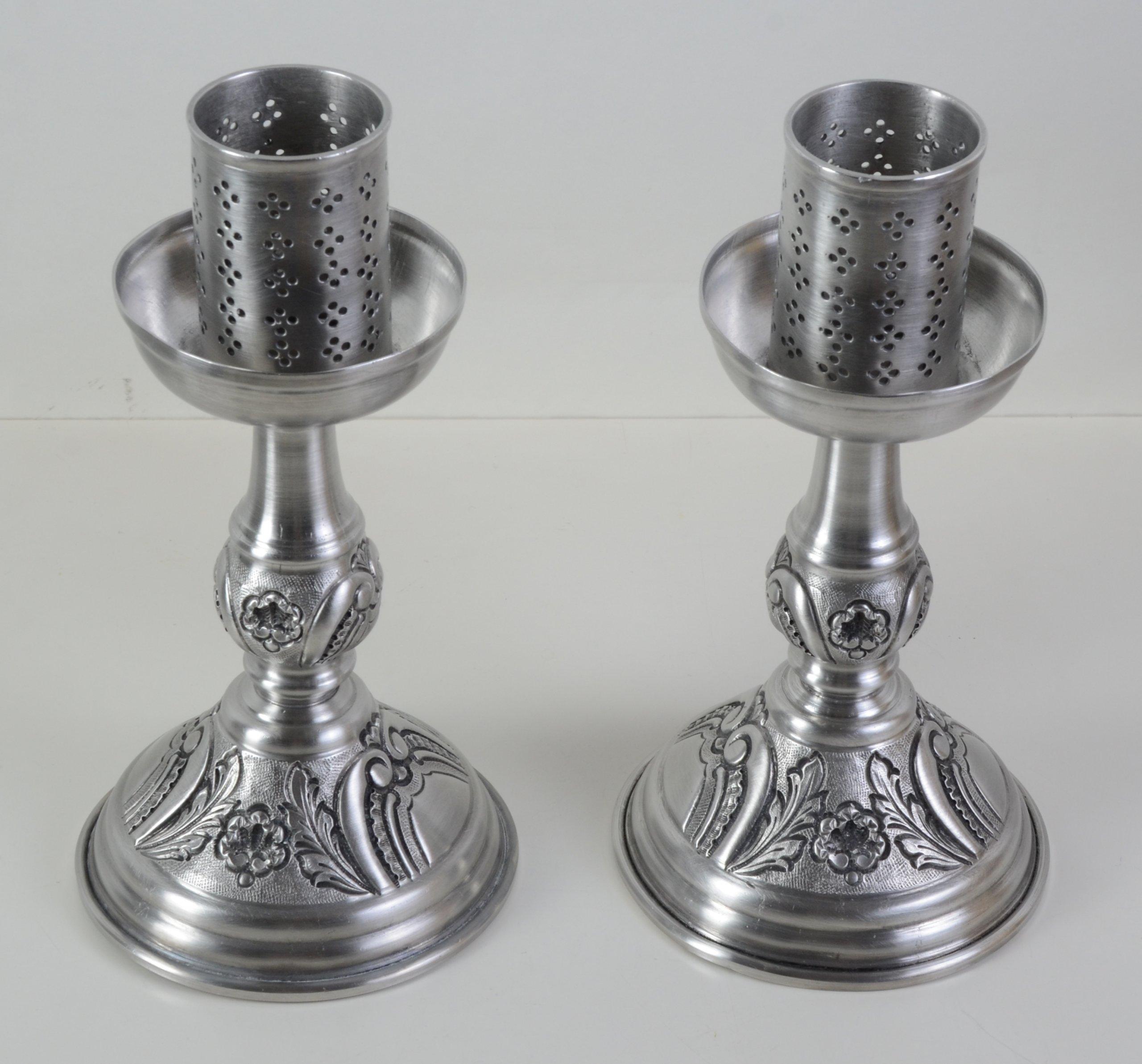 Komplet 2 x srebrny świecznik duży Hiszp.453
