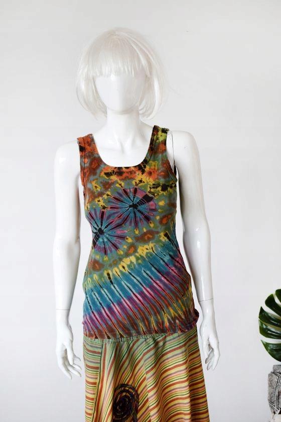 batikowy top hippie boho etno dekatyzowany tęcza