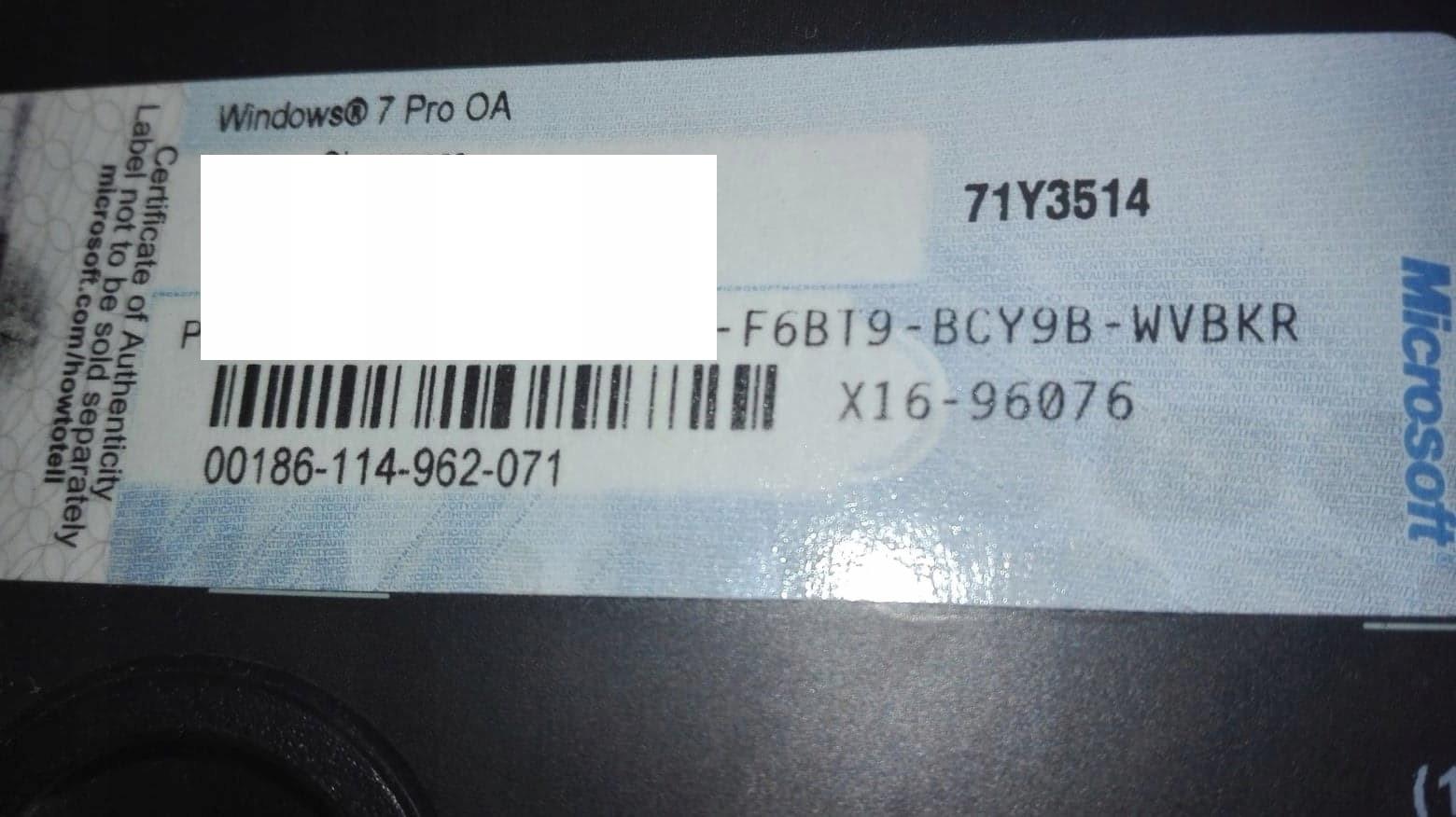 NAKLEJKA COA WIN7 Pro do HP ORGINAł mała 64bit