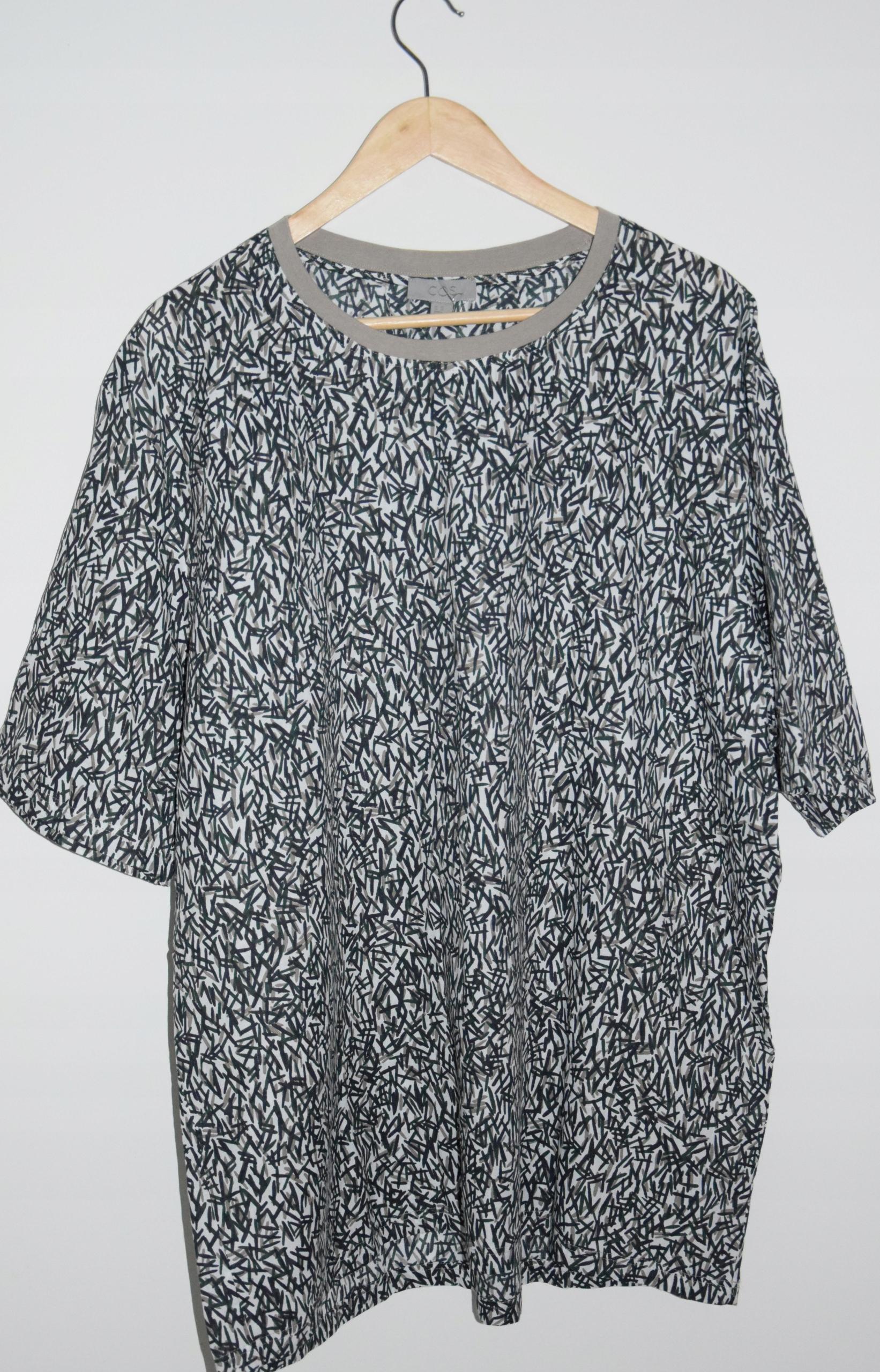cos koszulka khaki print 100% bawełna XL