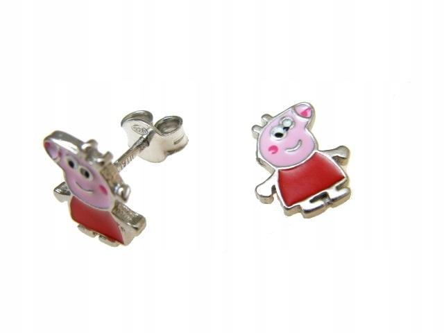 Srebrne kolczyki świnka pepa dla dziecka 0-3a