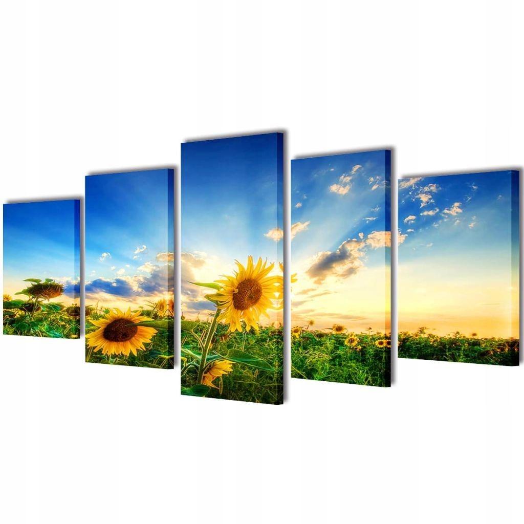 Zestaw obrazów Canvas 200 x 100 cm Słoneczniki