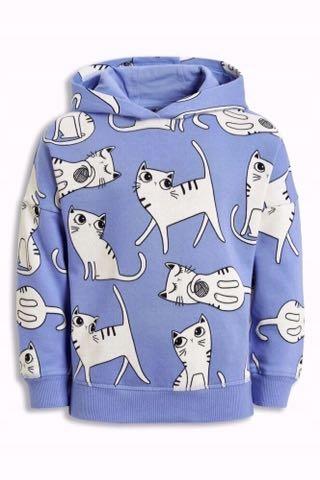 NEXT błękitna bluza kaptur w koty UNIKAT koty 104