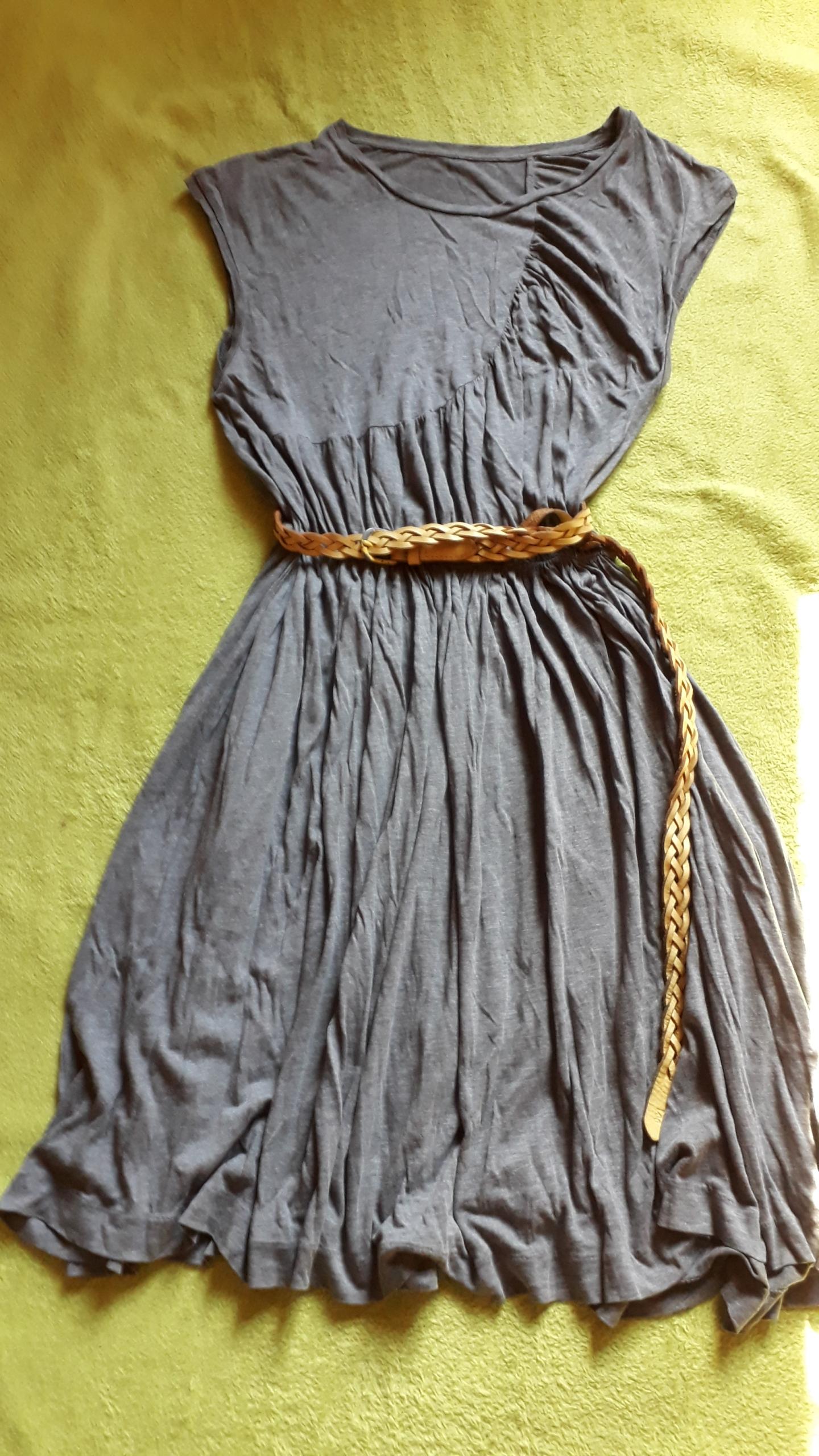 COS popielata sukienka bawełniana marszczona r.38