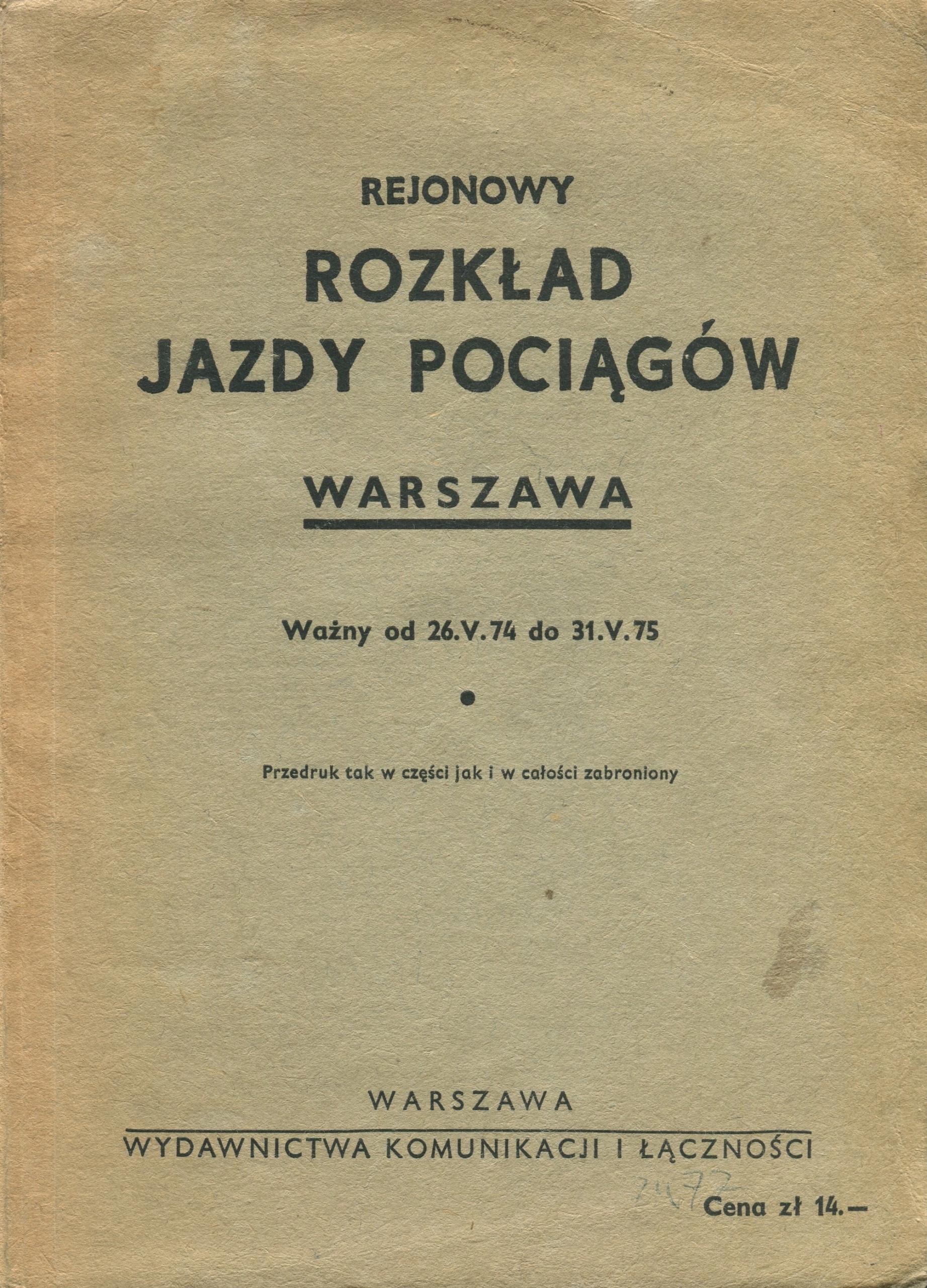 REJONOWY ROZKŁAD JAZDY POCIĄGÓW WARSZAWA 1974