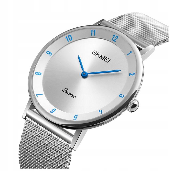 Zegarek męski - SKMEI - bransoleta mesh - srebrny