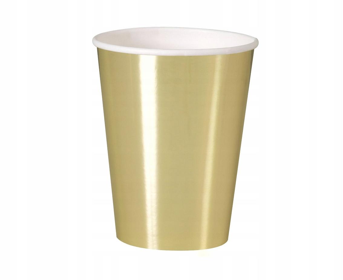 Kubeczki papierowe Złote 355 ml 8 szt Sylwester