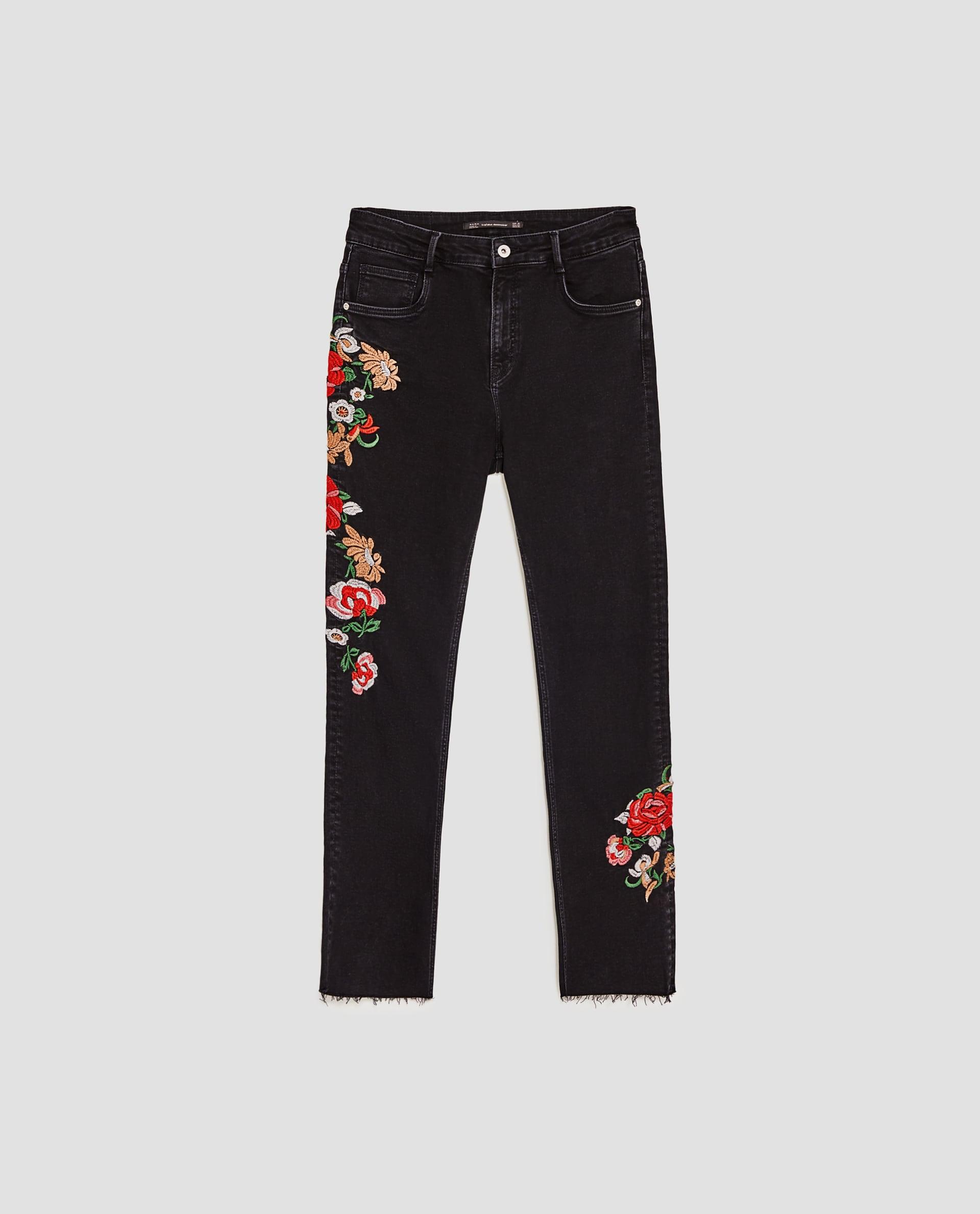 ZARA czarne dżinsy w kwiatowe hafty 42 7712108498