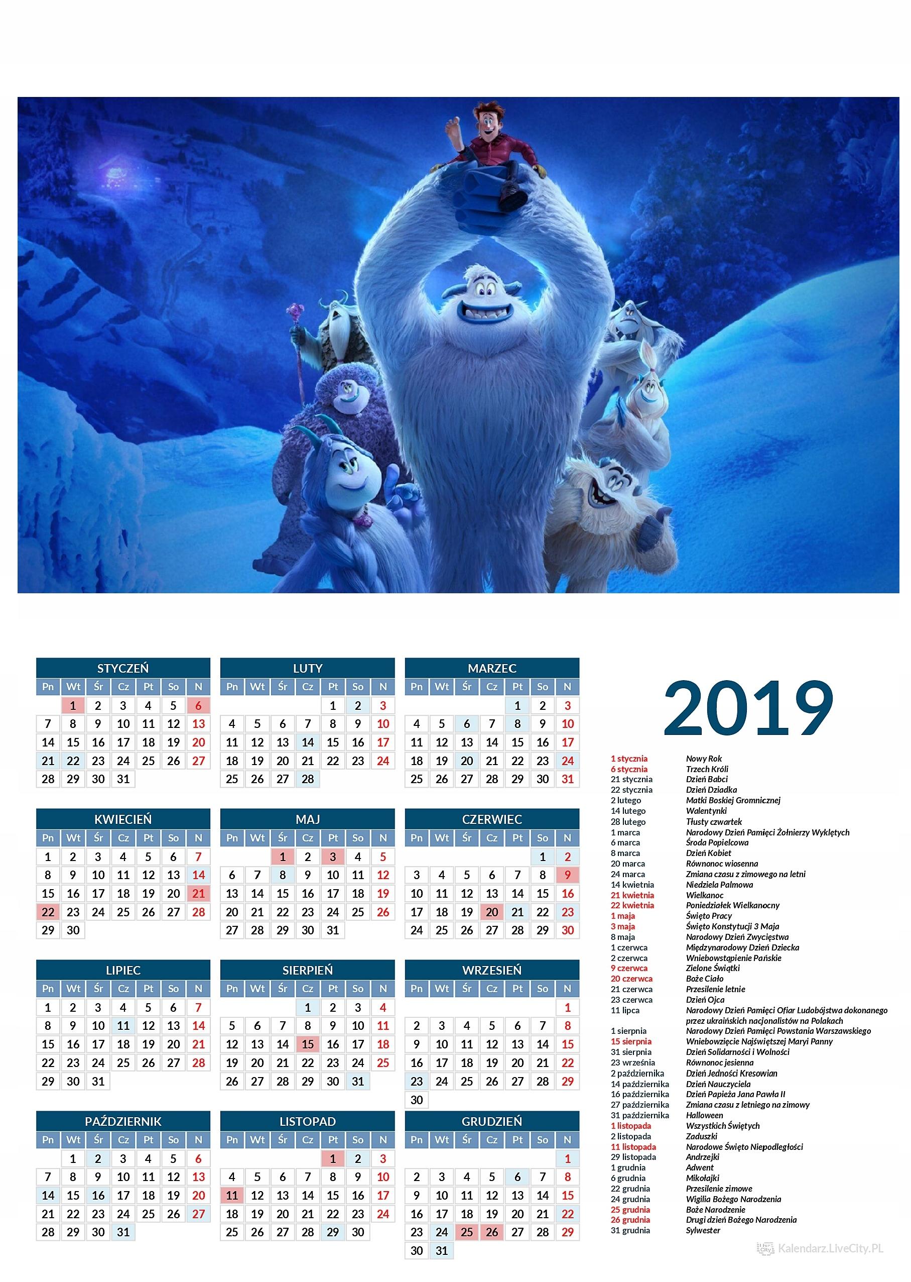 Kalendarz 2019 film mała stopa