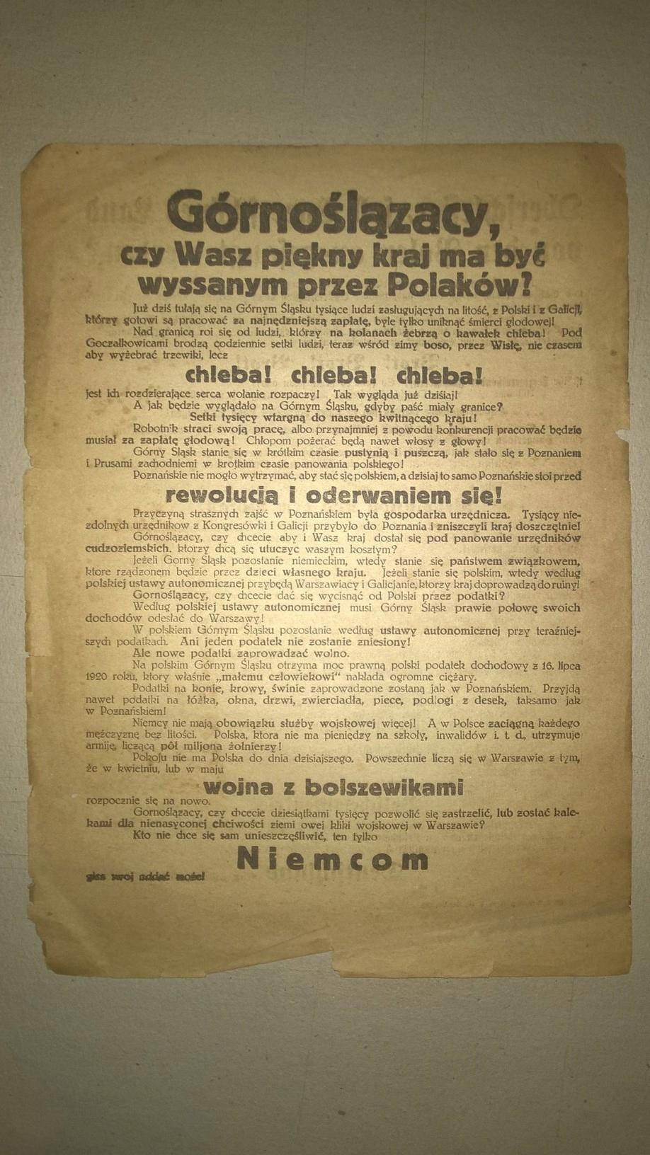 Plakat Proniemiecki Plebiscyt Górny śląsk