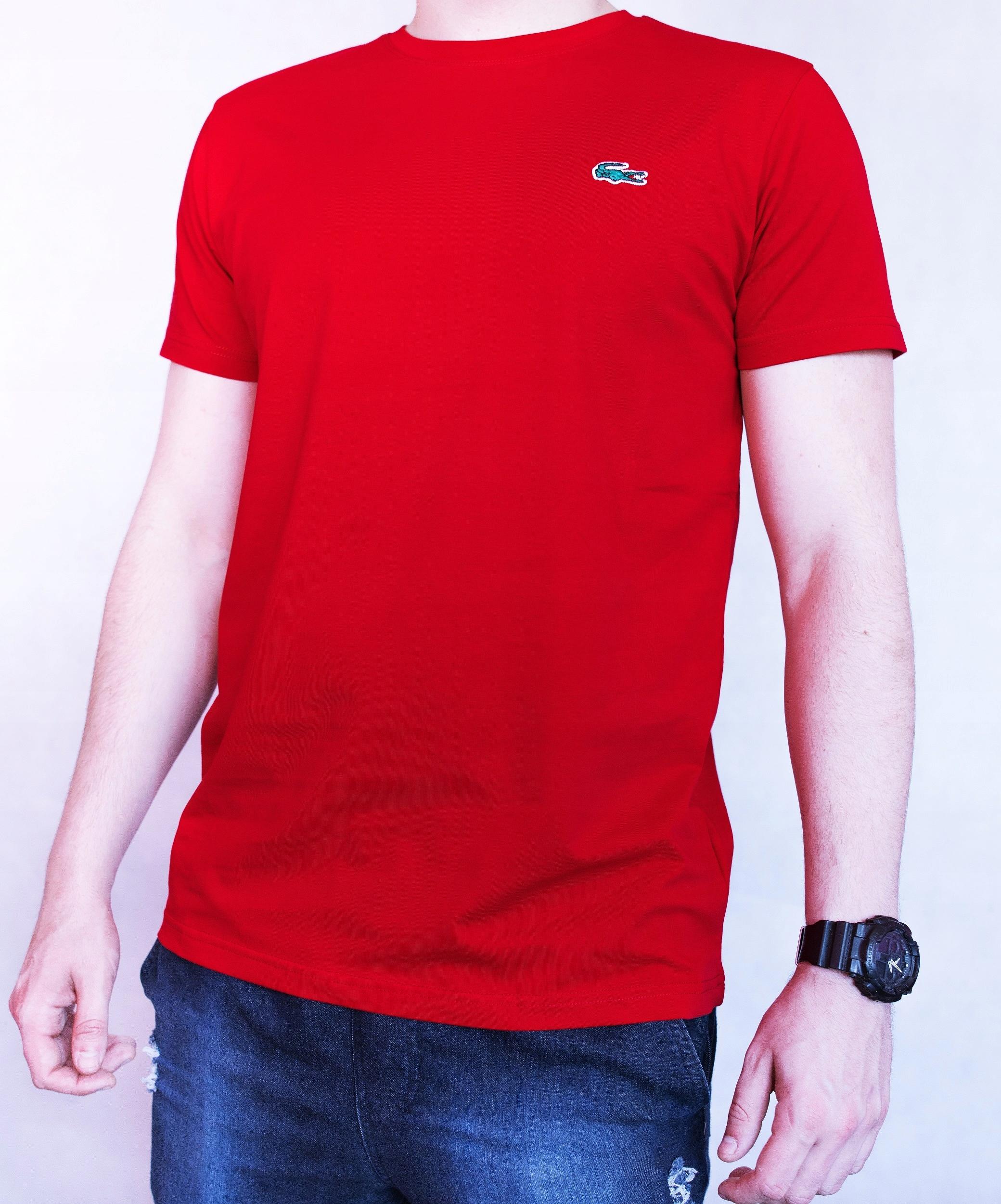 Lacoste czerwona koszulka 100% BAWEŁNA roz. XXL