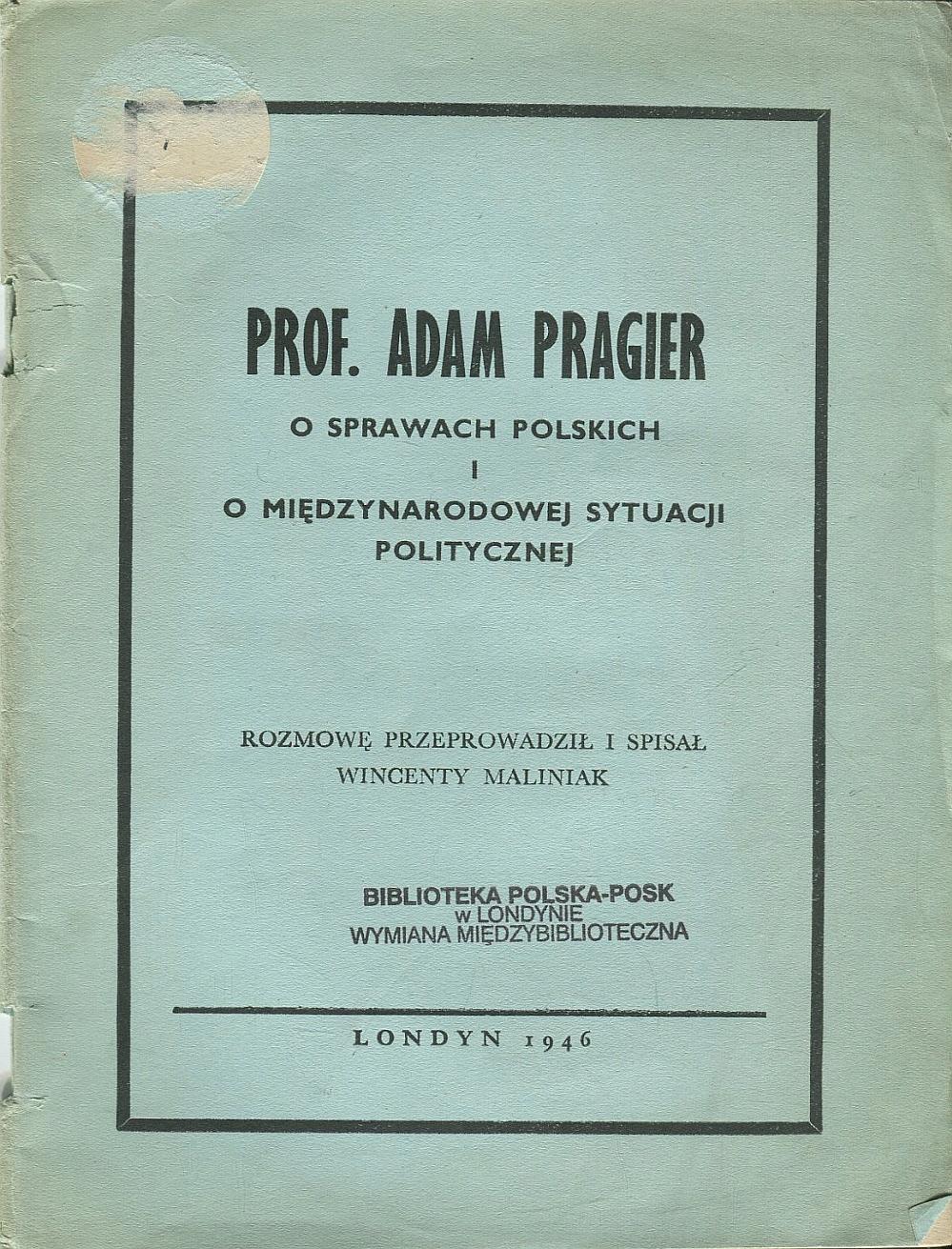 PRAGIER O SPRAWACH POLSKICH I MIĘDZYNARODOWEJ 1946