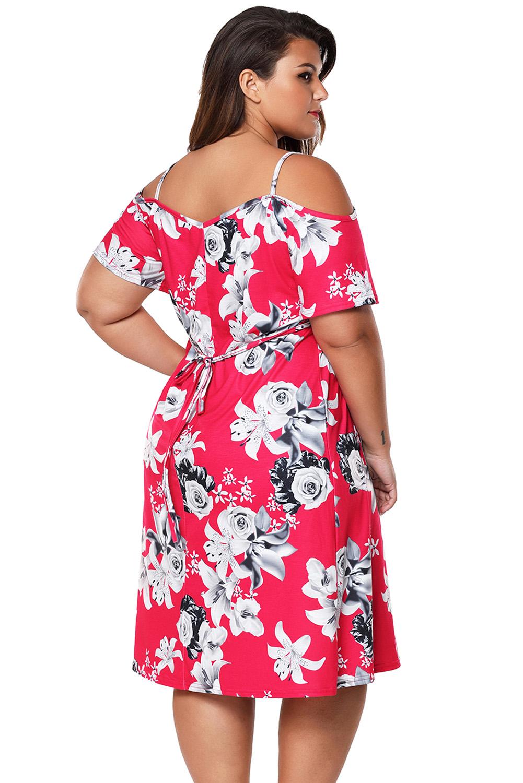 17fe7e275f Sukienka letnia 61964 w kwiaty DUZE ROZMIARY 54 - 7275046503 ...