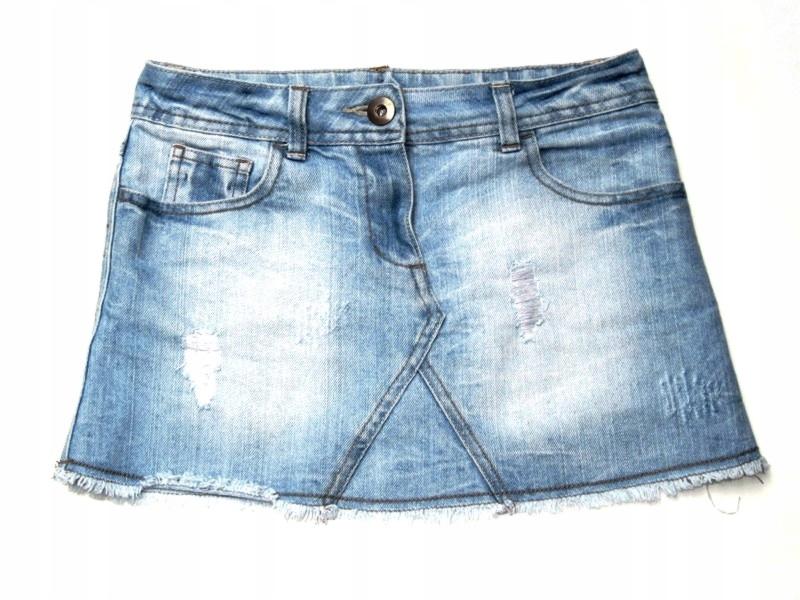 NEXT jeansowa spódniczka postrzępiona vintage 152