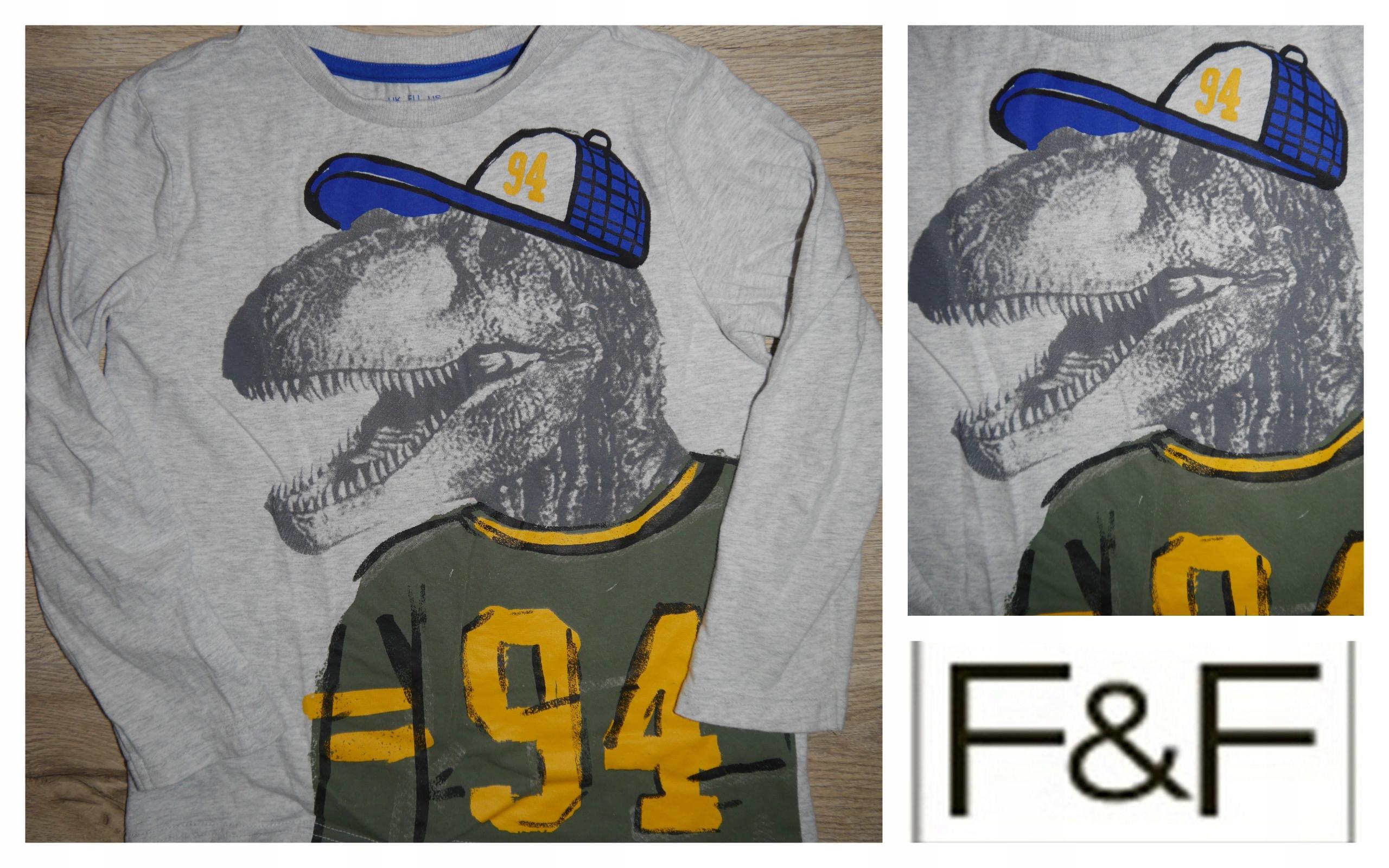 F&F BLUZKA Koszulka dino r. 122