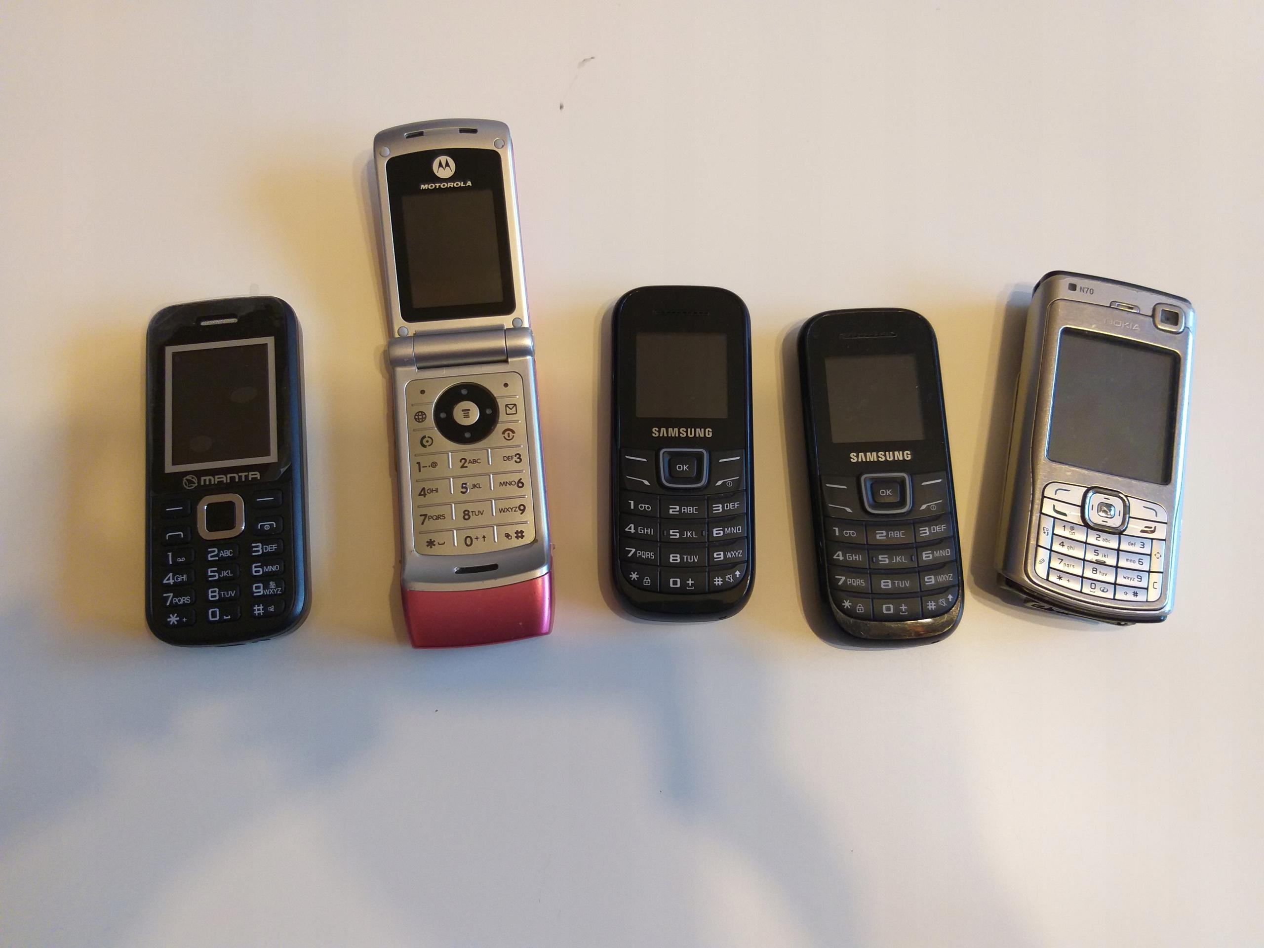 samsung nokia n70 motorola w375 telefony stare
