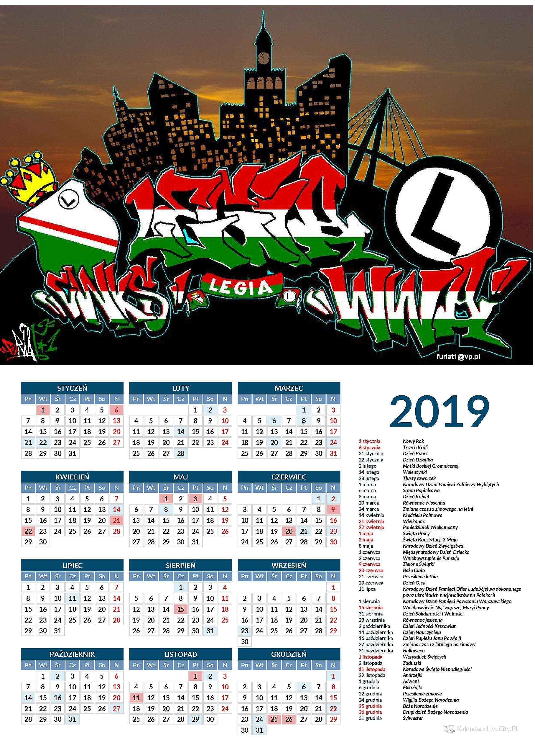 Kalendarz 2019 LEGIA CWKS