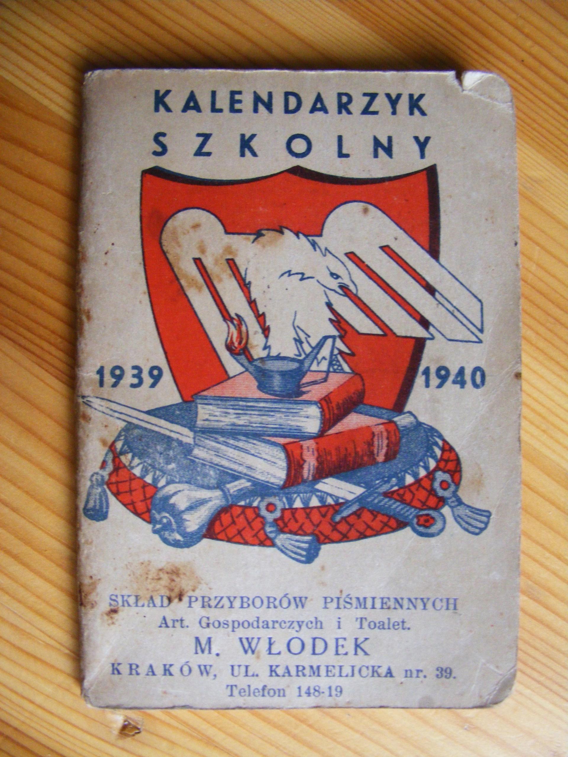 Kaleendarzyk Szkolny z mapą 1939/1940