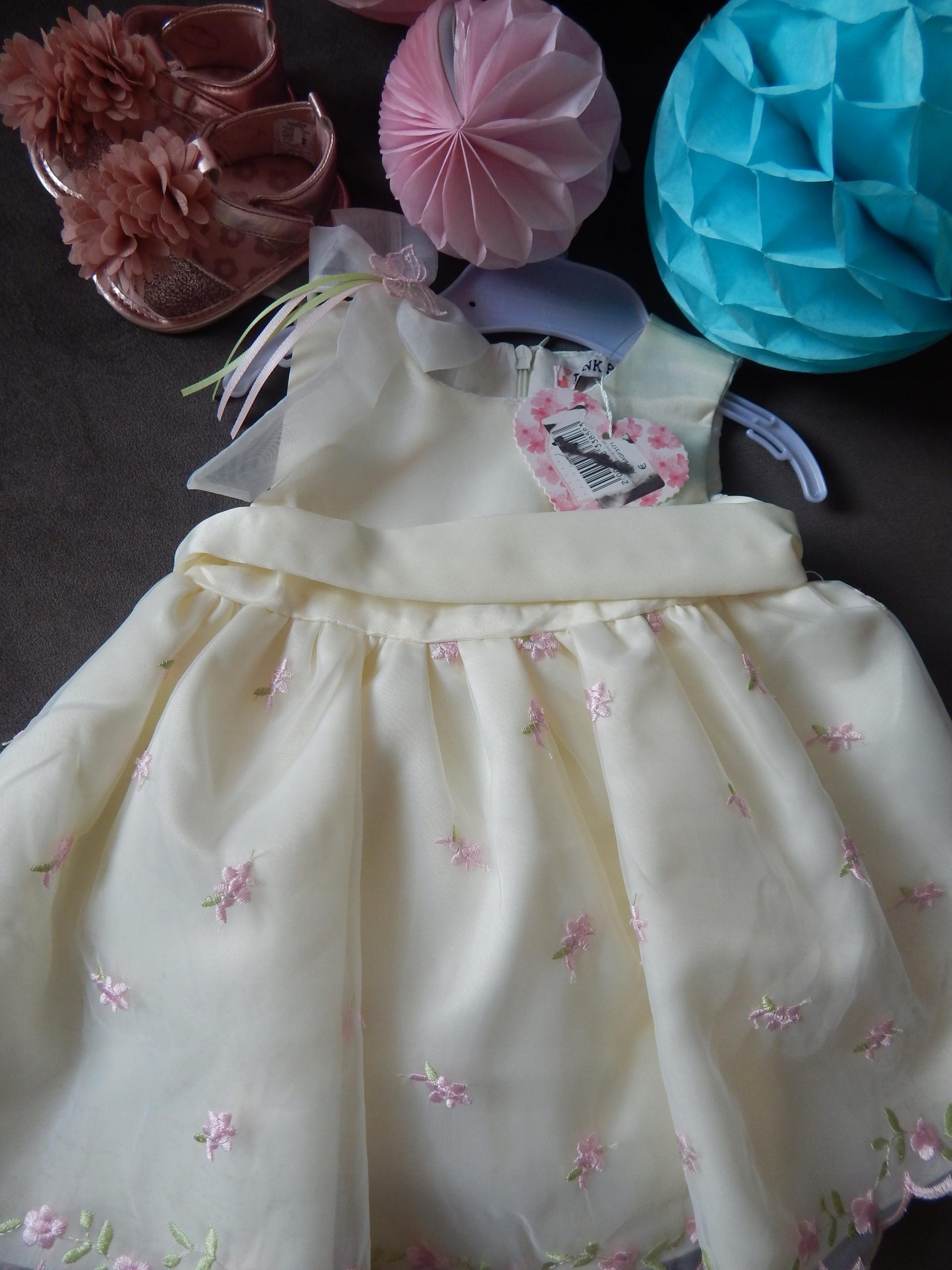 Sukienka tiul PINK Baby ecru chrzest buciki r. 74