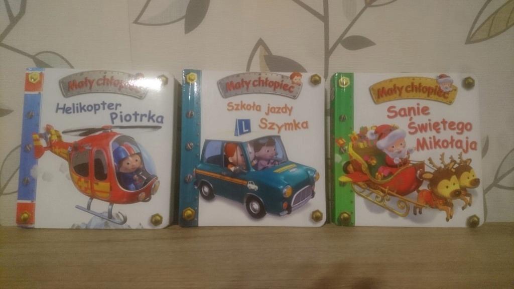 zestaw 3 książek Mały chłopiec helikopter, sanie